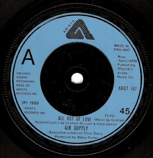 AIR SUPPLY All Out Of Love Vinyl Record 7 Inch Arista 1980